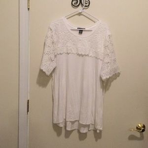 White Crocheted Hi-Lo Tunic